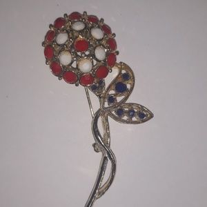 60s vintage mod red white and blue flower pin